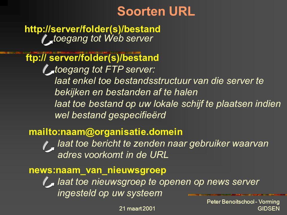 Soorten URL http://server/folder(s)/bestand toegang tot Web server