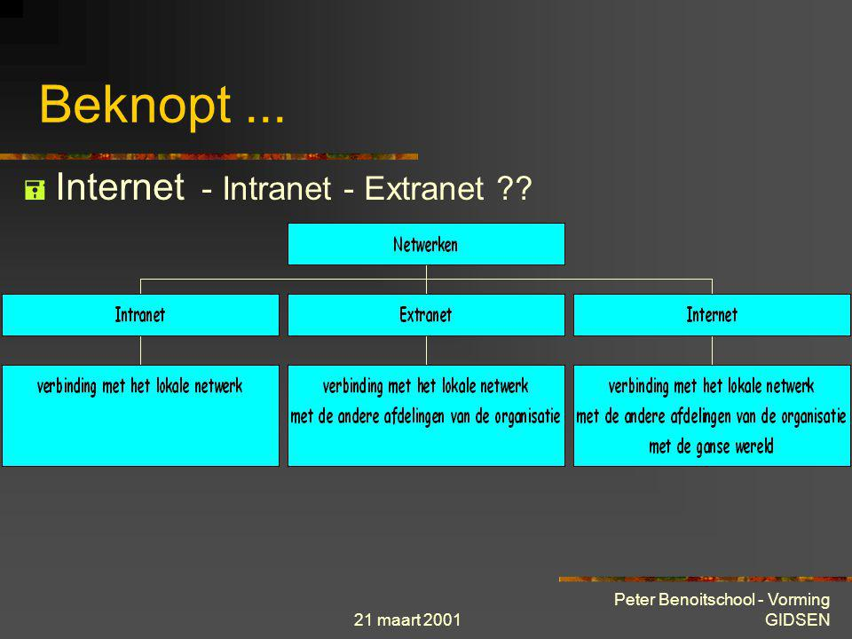 Beknopt ... Internet - Intranet - Extranet