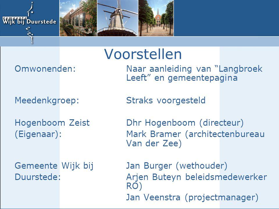 Voorstellen Omwonenden: Naar aanleiding van Langbroek Leeft en gemeentepagina. Meedenkgroep: Straks voorgesteld.