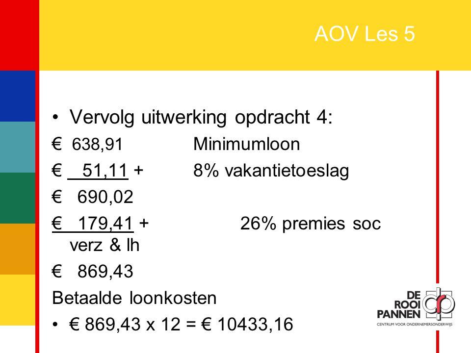 AOV Les 5 Vervolg uitwerking opdracht 4: € 638,91 Minimumloon
