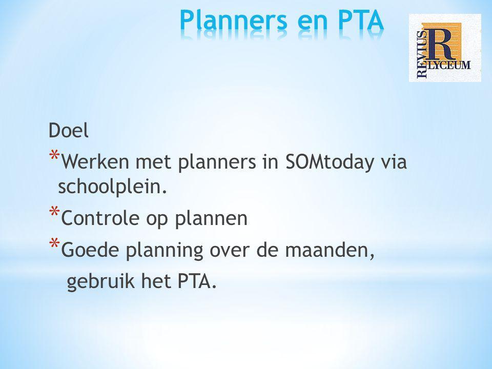 Planners en PTA Doel Werken met planners in SOMtoday via schoolplein.