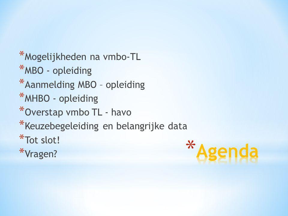 Agenda Mogelijkheden na vmbo-TL MBO - opleiding