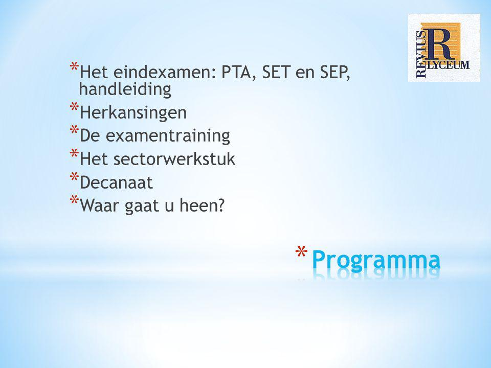 Programma Het eindexamen: PTA, SET en SEP, handleiding Herkansingen