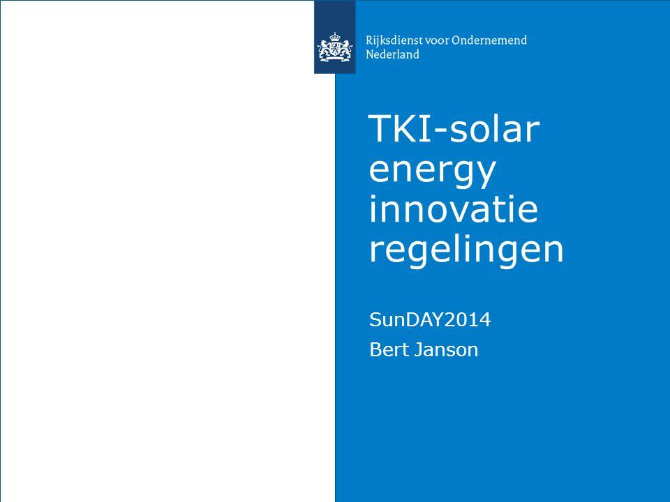 TKI-solar energy innovatie regelingen