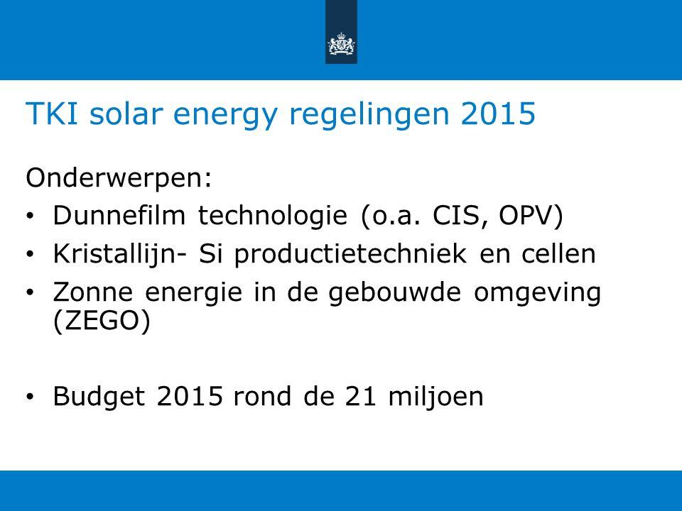 TKI solar energy regelingen 2015