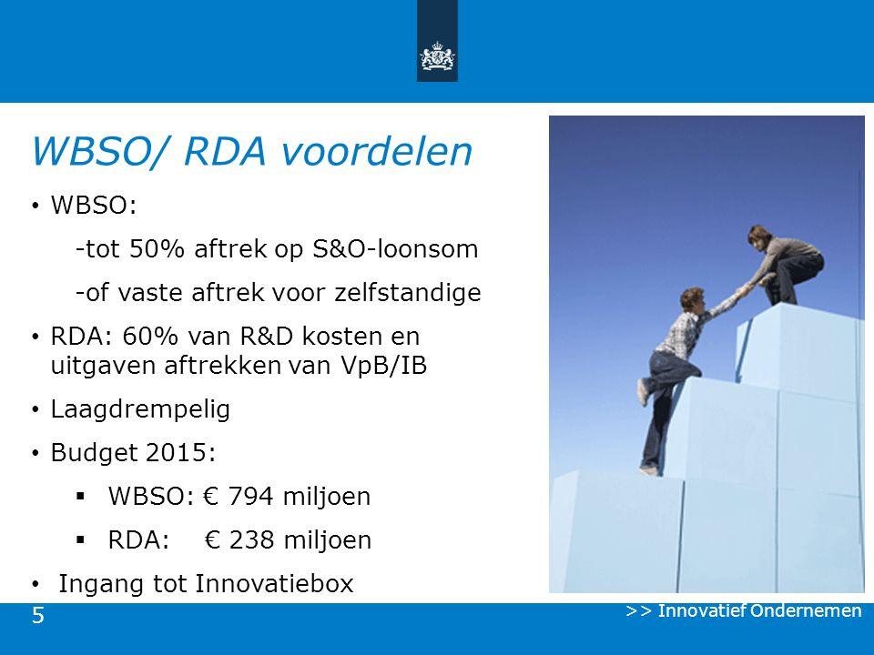 WBSO/ RDA voordelen WBSO: -tot 50% aftrek op S&O-loonsom