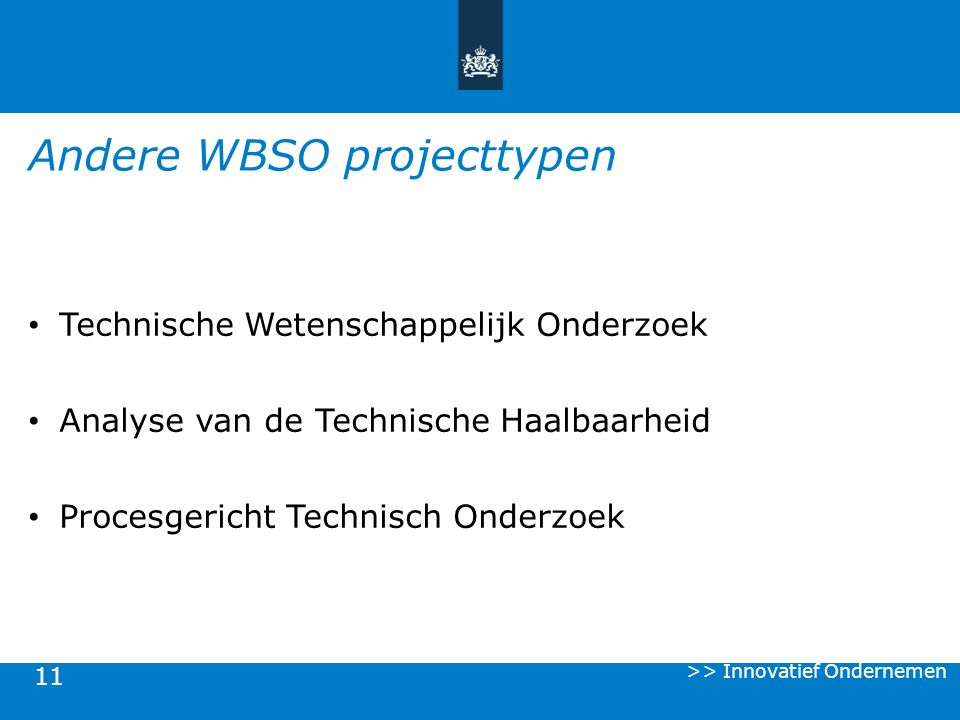 Andere WBSO projecttypen