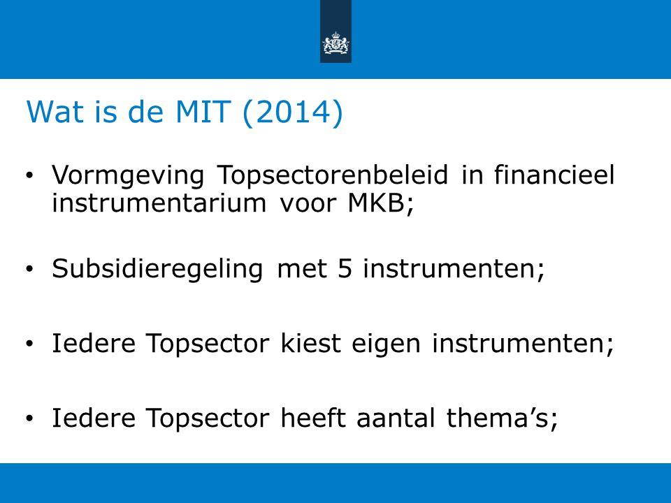 Wat is de MIT (2014) Vormgeving Topsectorenbeleid in financieel instrumentarium voor MKB; Subsidieregeling met 5 instrumenten;