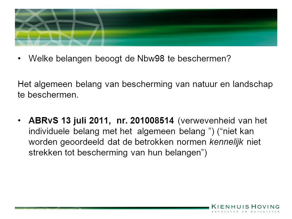 Welke belangen beoogt de Nbw98 te beschermen