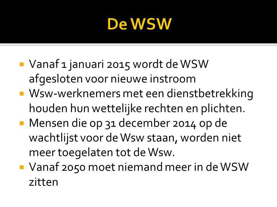 De WSW Vanaf 1 januari 2015 wordt de WSW afgesloten voor nieuwe instroom.