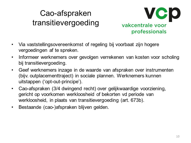 Cao-afspraken transitievergoeding