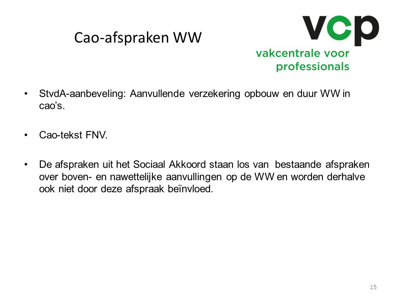 Cao-afspraken WW StvdA-aanbeveling: Aanvullende verzekering opbouw en duur WW in cao's. Cao-tekst FNV.
