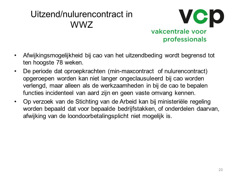 Uitzend/nulurencontract in WWZ