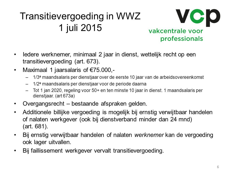 Transitievergoeding in WWZ 1 juli 2015