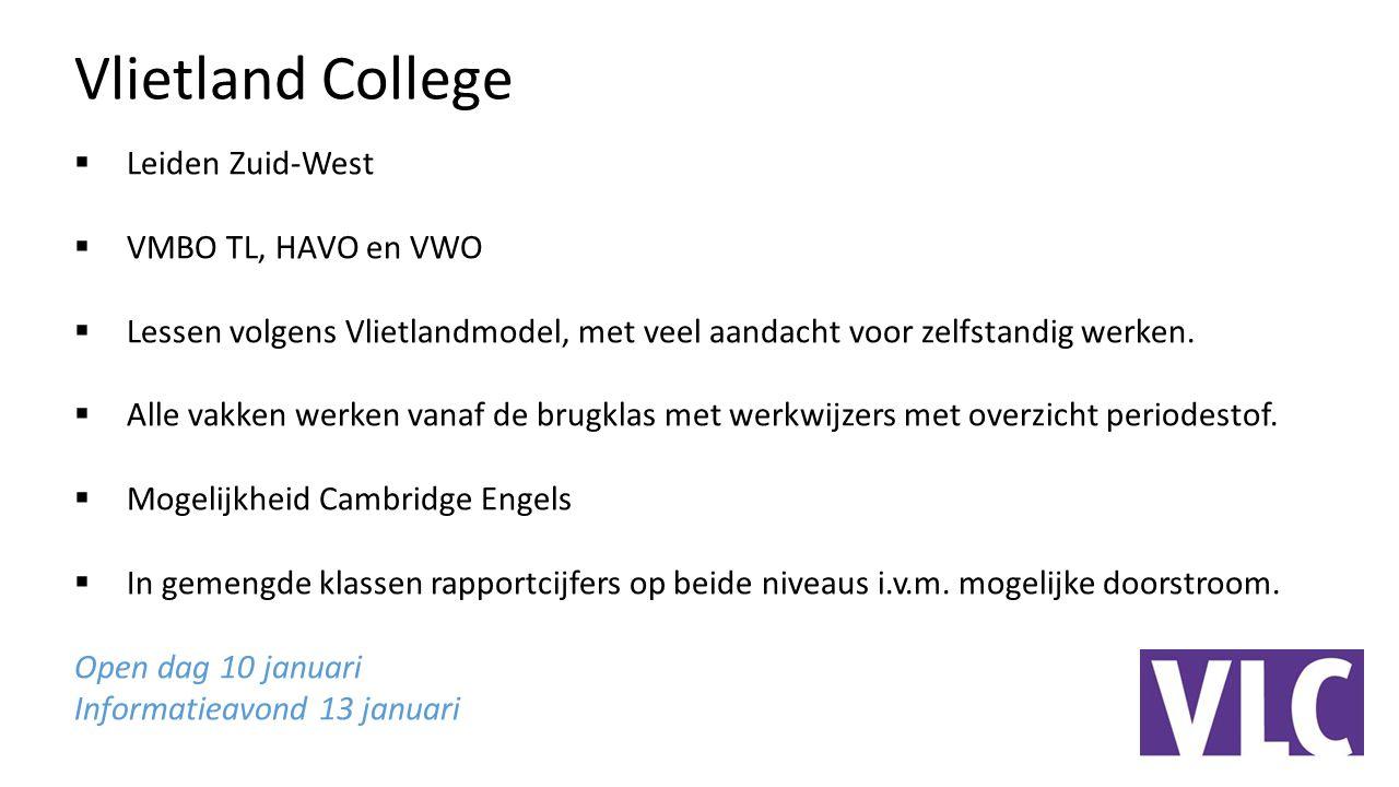Vlietland College Leiden Zuid-West VMBO TL, HAVO en VWO