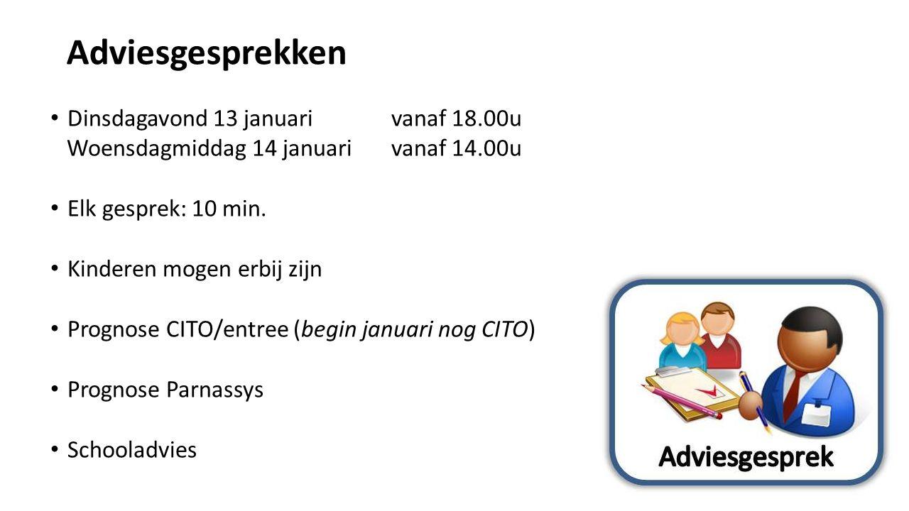 Adviesgesprekken Dinsdagavond 13 januari vanaf 18.00u