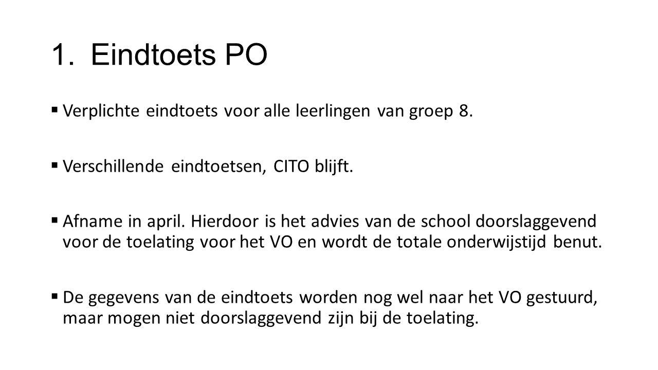Eindtoets PO Verplichte eindtoets voor alle leerlingen van groep 8.