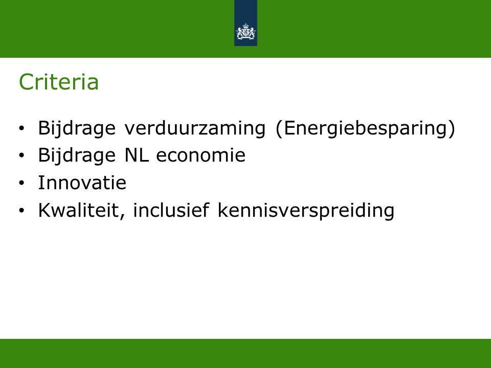 Criteria Bijdrage verduurzaming (Energiebesparing)