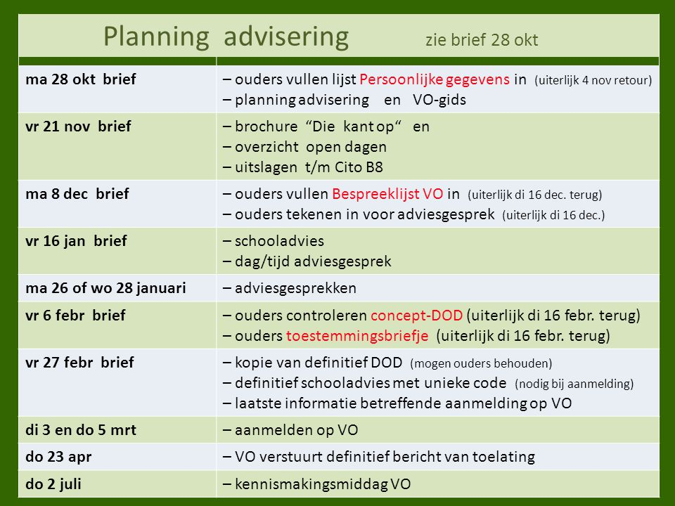 advisering zie brief 28 okt