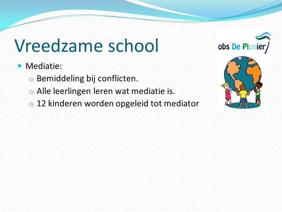 Vreedzame school Mediatie: Bemiddeling bij conflicten.