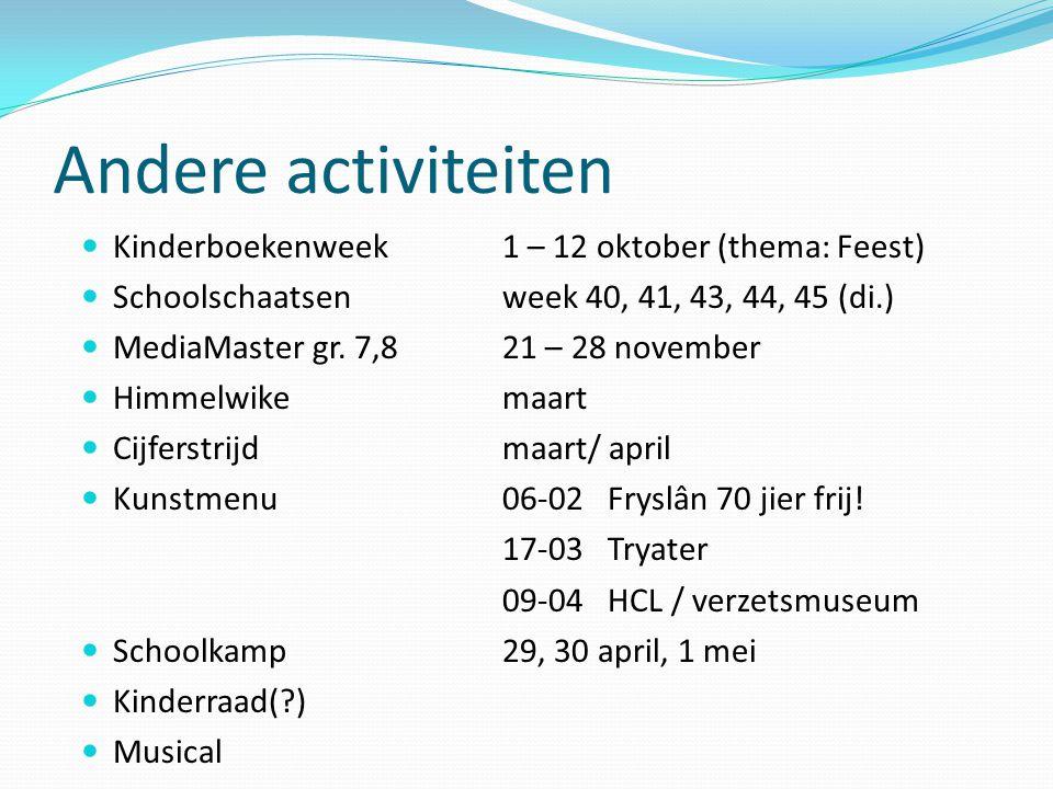 Andere activiteiten Kinderboekenweek 1 – 12 oktober (thema: Feest)