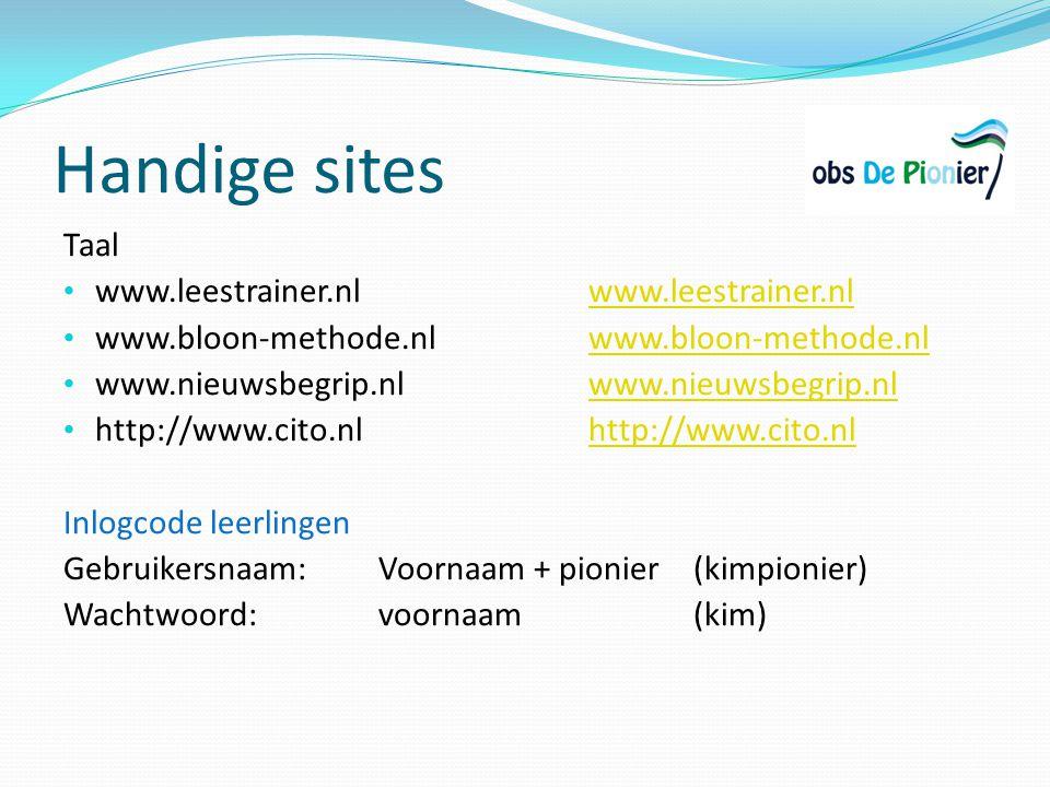 Handige sites Taal www.leestrainer.nl www.leestrainer.nl
