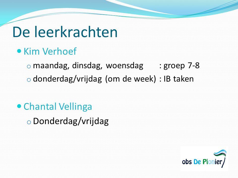 De leerkrachten Kim Verhoef Chantal Vellinga Donderdag/vrijdag