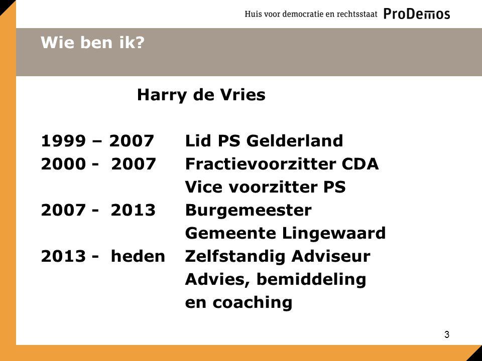 Wie ben ik Harry de Vries. 1999 – 2007 Lid PS Gelderland. 2000 - 2007 Fractievoorzitter CDA. Vice voorzitter PS.