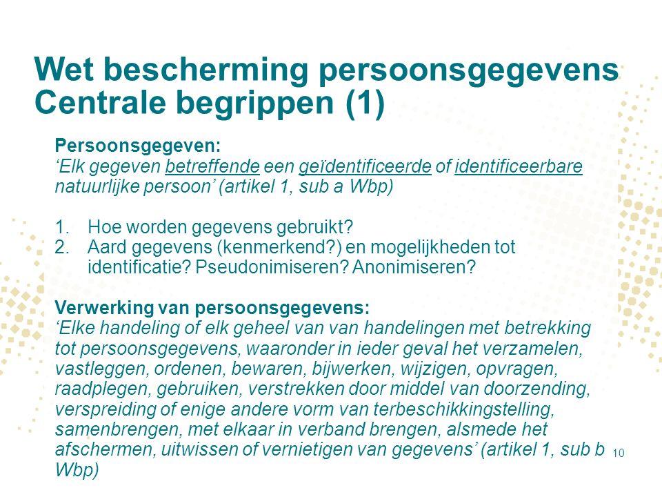 Wet bescherming persoonsgegevens Centrale begrippen (1)