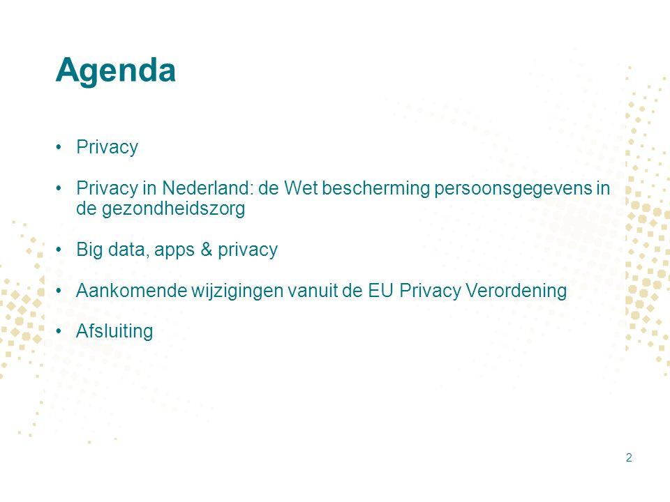 Agenda Privacy. Privacy in Nederland: de Wet bescherming persoonsgegevens in de gezondheidszorg. Big data, apps & privacy.