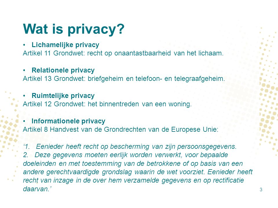 Wat is privacy Lichamelijke privacy