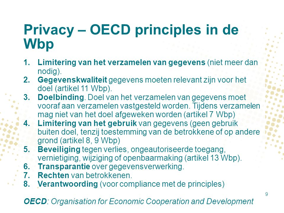 Privacy – OECD principles in de Wbp