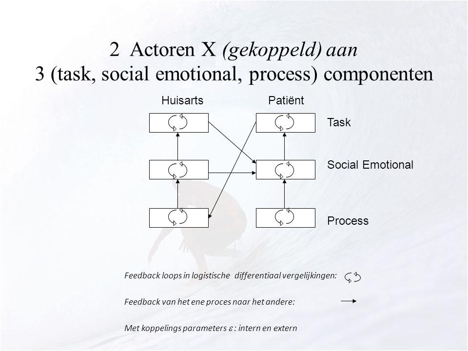 2 Actoren X (gekoppeld) aan 3 (task, social emotional, process) componenten