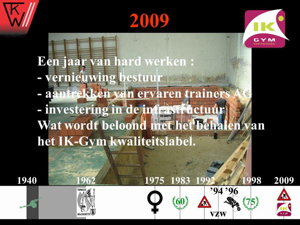 2009 Een jaar van hard werken : - vernieuwing bestuur - aantrekken van ervaren trainers AG - investering in de infrastructuur.