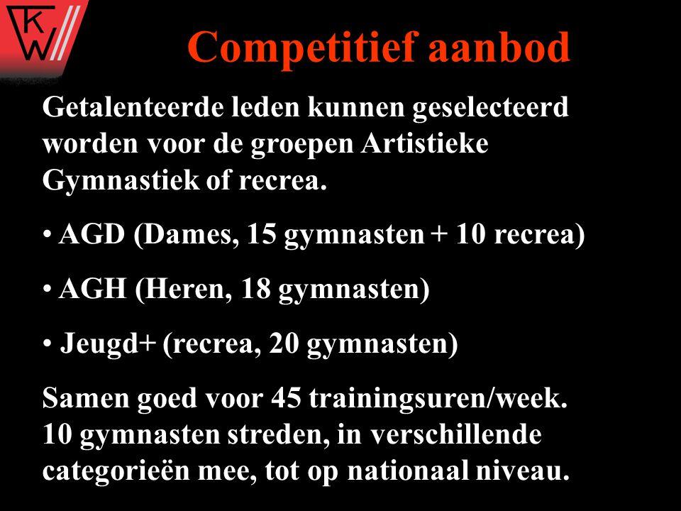 Competitief aanbod Getalenteerde leden kunnen geselecteerd worden voor de groepen Artistieke Gymnastiek of recrea.