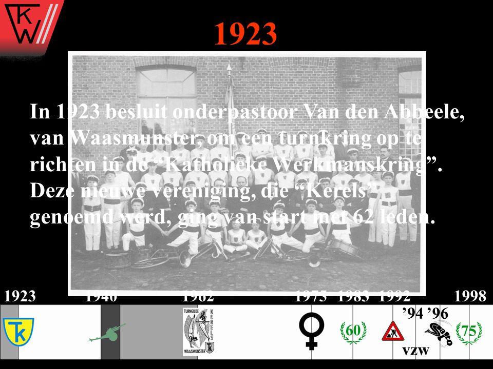 1923 In 1923 besluit onderpastoor Van den Abbeele,