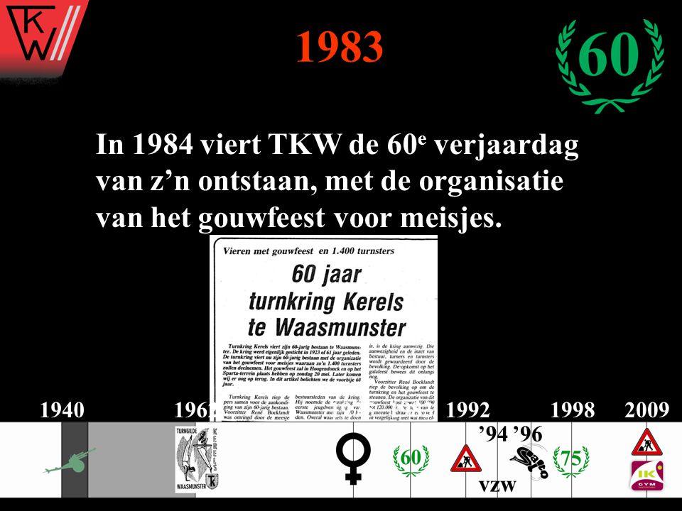 1983 In 1984 viert TKW de 60e verjaardag van z'n ontstaan, met de organisatie. van het gouwfeest voor meisjes.