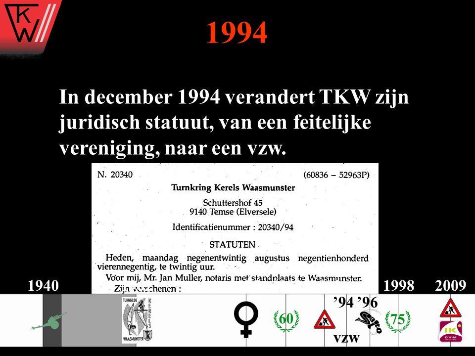 1994 In december 1994 verandert TKW zijn juridisch statuut, van een feitelijke vereniging, naar een vzw.
