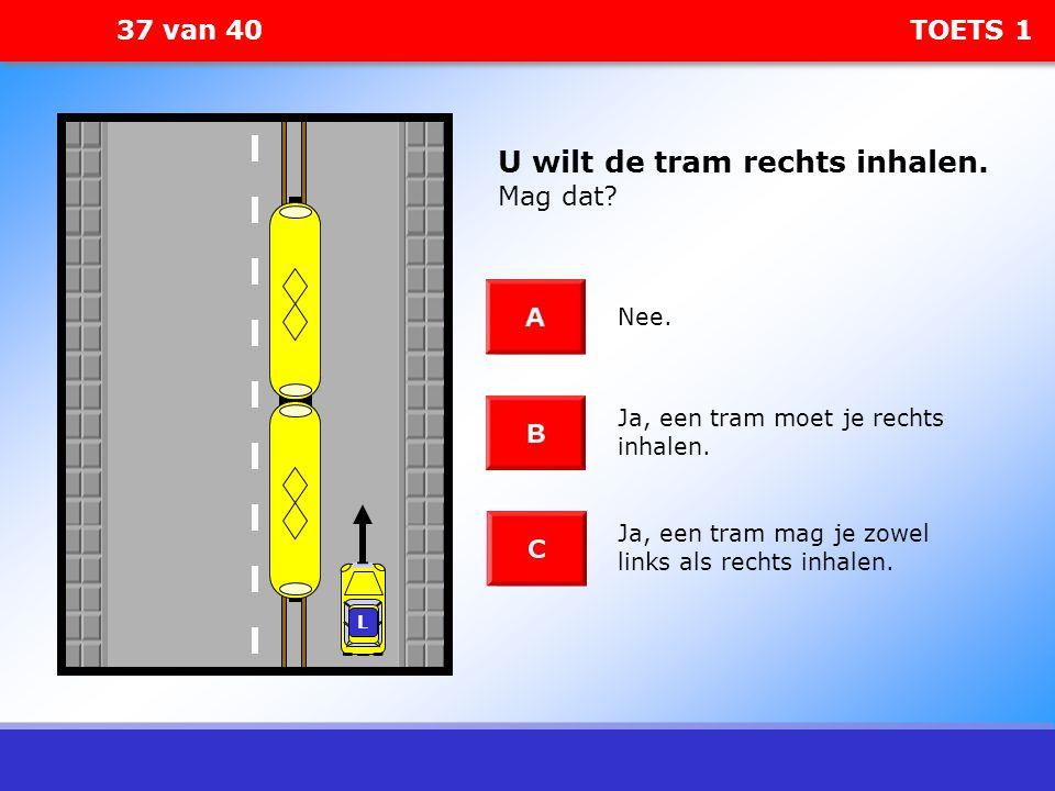 U wilt de tram rechts inhalen. Mag dat