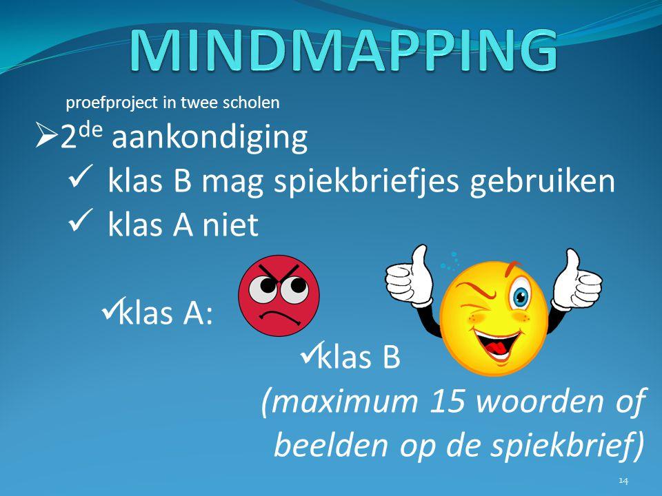 MINDMAPPING 2de aankondiging klas B mag spiekbriefjes gebruiken