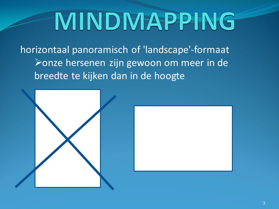 MINDMAPPING horizontaal panoramisch of landscape -formaat