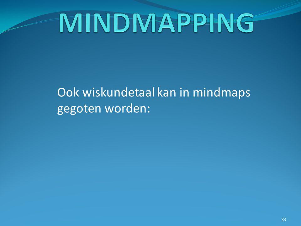 MINDMAPPING Ook wiskundetaal kan in mindmaps gegoten worden: