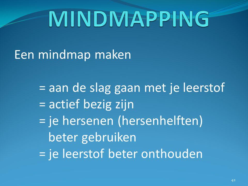 MINDMAPPING Een mindmap maken = aan de slag gaan met je leerstof