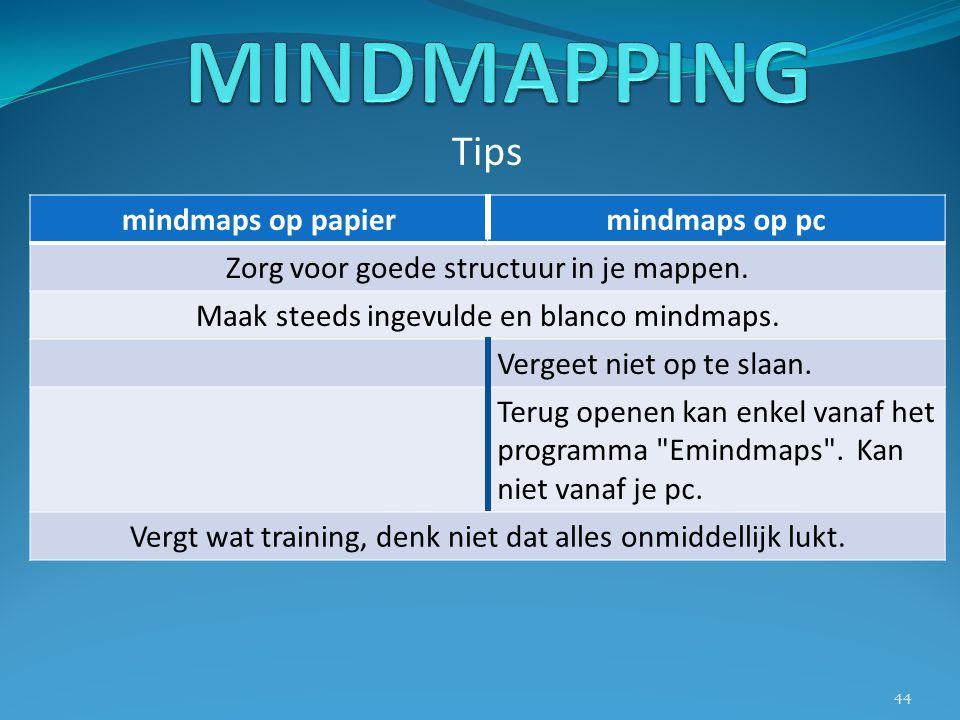 MINDMAPPING Tips mindmaps op papier mindmaps op pc