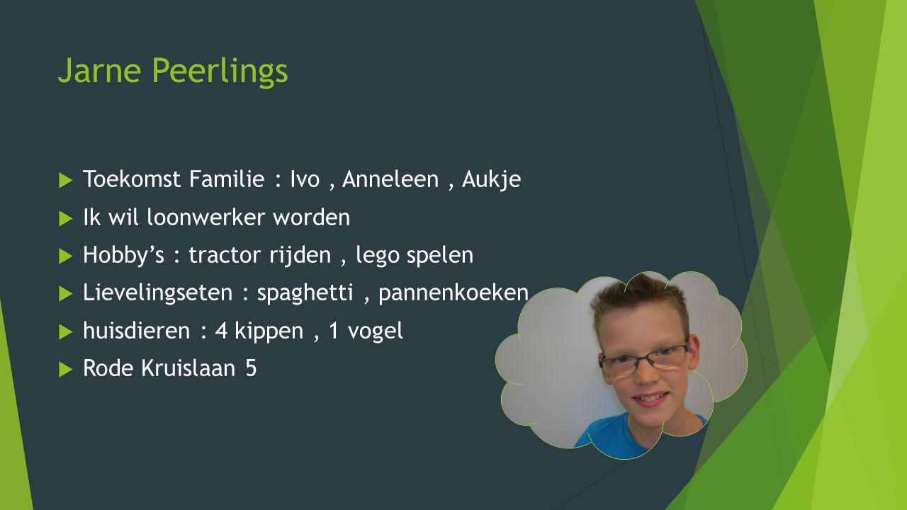Jarne Peerlings Toekomst Familie : Ivo , Anneleen , Aukje