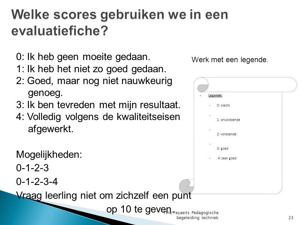 Welke scores gebruiken we in een evaluatiefiche
