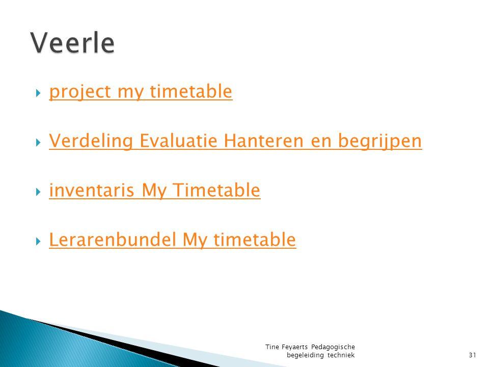 Veerle project my timetable Verdeling Evaluatie Hanteren en begrijpen