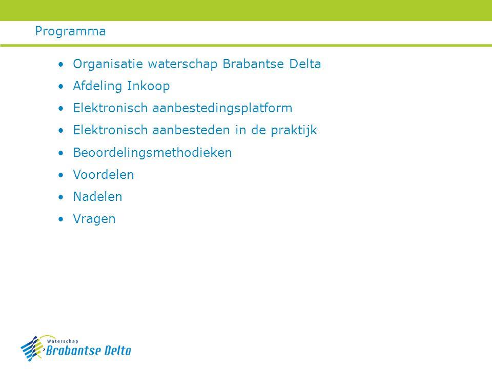 Programma Organisatie waterschap Brabantse Delta. Afdeling Inkoop. Elektronisch aanbestedingsplatform.