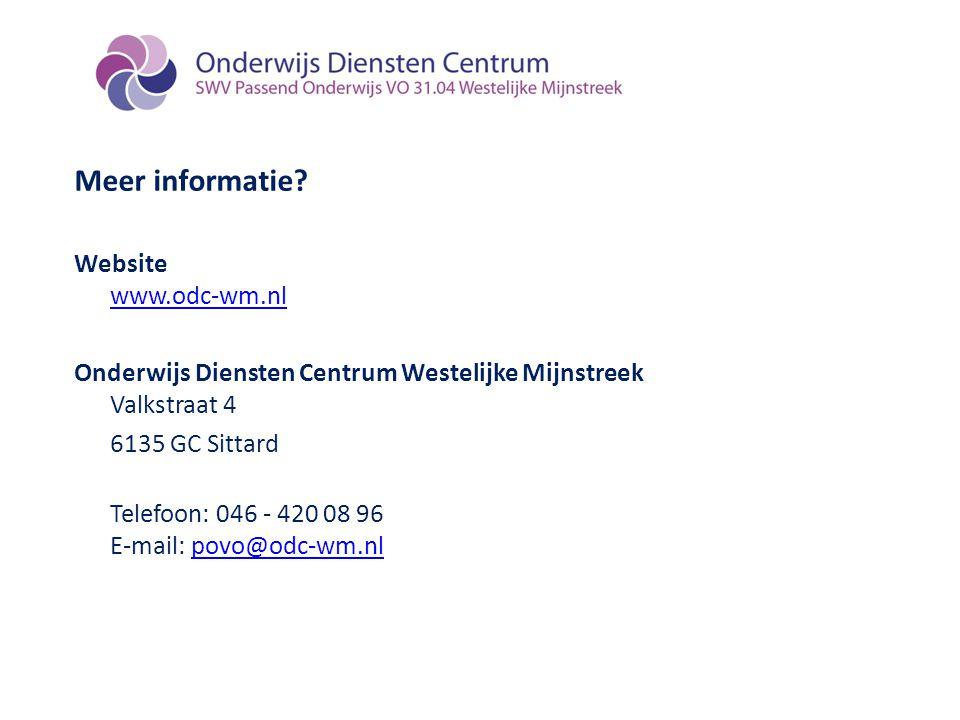 Meer informatie Website www.odc-wm.nl