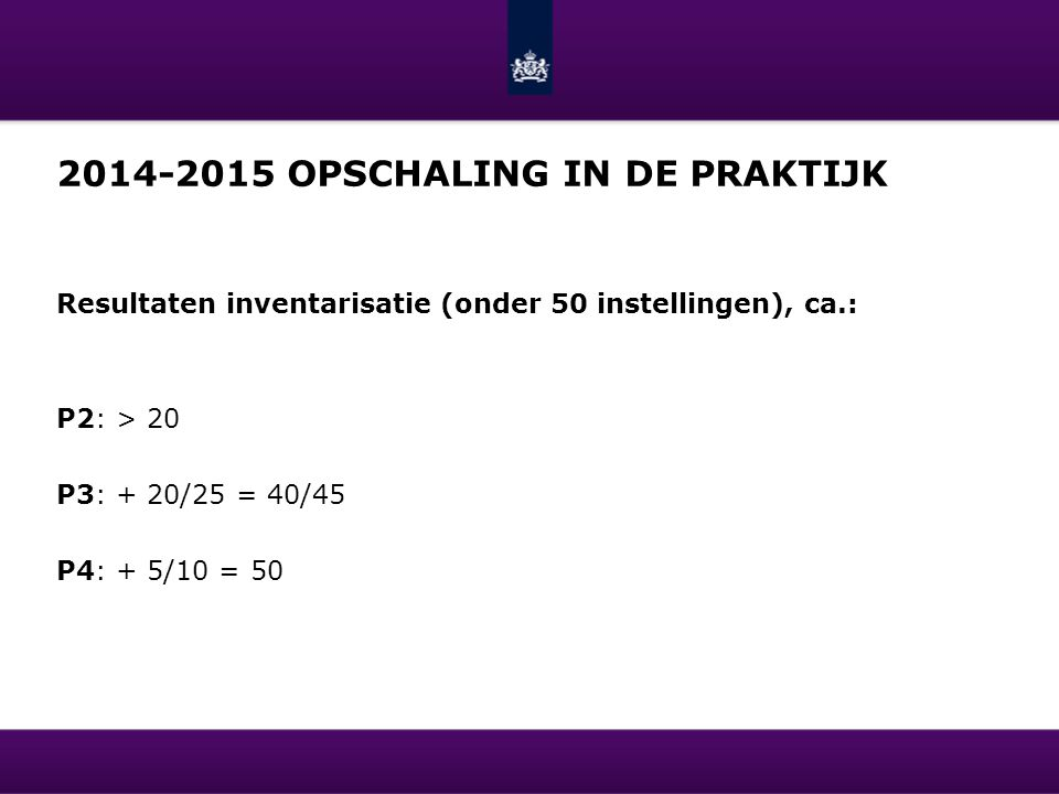 2014-2015 opschaling in de praktijk